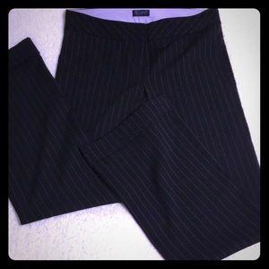 Black and purple pinstriped dress pants
